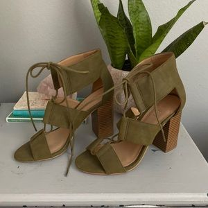 WORN ONCE Loft strappy olive heels
